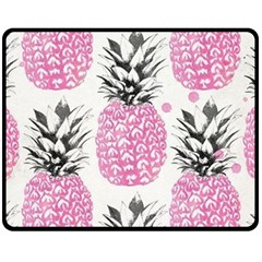 Pink Pineapple Double Sided Fleece Blanket (medium)  by Brittlevirginclothing
