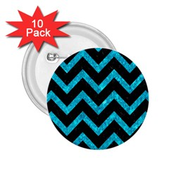 Chevron9 Black Marble & Turquoise Marble 2 25  Button (10 Pack)