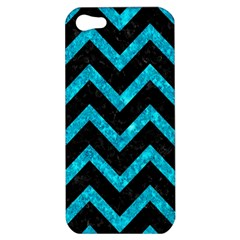 Chevron9 Black Marble & Turquoise Marble Apple Iphone 5 Hardshell Case by trendistuff