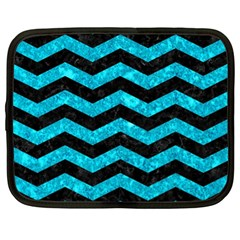 Chevron3 Black Marble & Turquoise Marble Netbook Case (xl) by trendistuff