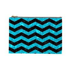 Chevron3 Black Marble & Turquoise Marble Cosmetic Bag (large) by trendistuff