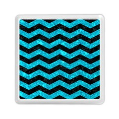 Chevron3 Black Marble & Turquoise Marble Memory Card Reader (square) by trendistuff