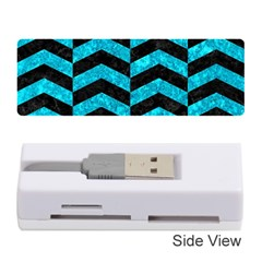 Chevron2 Black Marble & Turquoise Marble Memory Card Reader (stick) by trendistuff