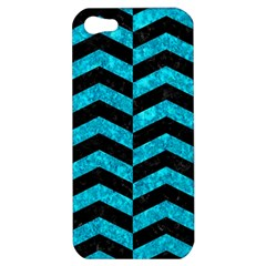 Chevron2 Black Marble & Turquoise Marble Apple Iphone 5 Hardshell Case by trendistuff