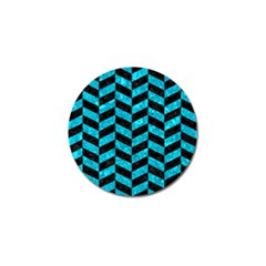 Chevron1 Black Marble & Turquoise Marble Golf Ball Marker by trendistuff