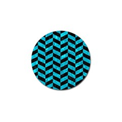 Chevron1 Black Marble & Turquoise Marble Golf Ball Marker (10 Pack) by trendistuff