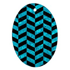 Chevron1 Black Marble & Turquoise Marble Oval Ornament (two Sides) by trendistuff