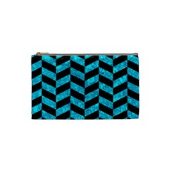 Chevron1 Black Marble & Turquoise Marble Cosmetic Bag (small) by trendistuff