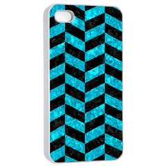 Chevron1 Black Marble & Turquoise Marble Apple Iphone 4/4s Seamless Case (white) by trendistuff