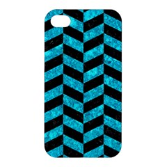 Chevron1 Black Marble & Turquoise Marble Apple Iphone 4/4s Hardshell Case by trendistuff