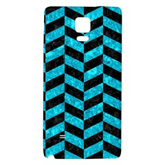 Chevron1 Black Marble & Turquoise Marble Samsung Note 4 Hardshell Back Case by trendistuff