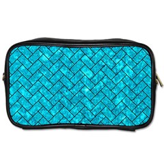 Brick2 Black Marble & Turquoise Marble (r) Toiletries Bag (one Side) by trendistuff