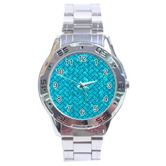 Brick2 Black Marble & Turquoise Marble (r) Stainless Steel Analogue Watch by trendistuff