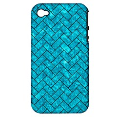 Brick2 Black Marble & Turquoise Marble (r) Apple Iphone 4/4s Hardshell Case (pc+silicone) by trendistuff