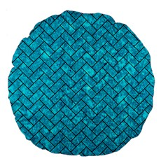 Brick2 Black Marble & Turquoise Marble (r) Large 18  Premium Flano Round Cushion  by trendistuff
