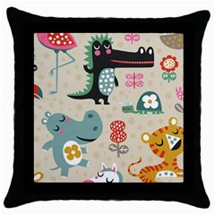 Cute Cartoon Throw Pillow Case (black) by Brittlevirginclothing