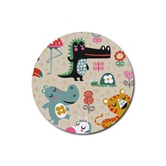 Cute Cartoon Rubber Round Coaster (4 Pack)  by Brittlevirginclothing