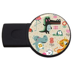 Cute Cartoon Usb Flash Drive Round (4 Gb) by Brittlevirginclothing