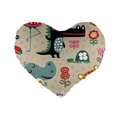Cute Cartoon Standard 16  Premium Heart Shape Cushions by Brittlevirginclothing