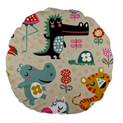 Cute Cartoon Large 18  Premium Flano Round Cushions by Brittlevirginclothing
