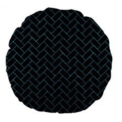 Brick2 Black Marble & Turquoise Marble Large 18  Premium Flano Round Cushion  by trendistuff