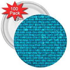 Brick1 Black Marble & Turquoise Marble (r) 3  Button (100 Pack) by trendistuff