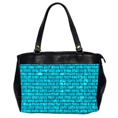 Brick1 Black Marble & Turquoise Marble (r) Oversize Office Handbag (2 Sides) by trendistuff