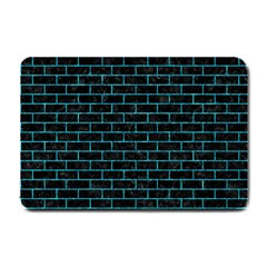 Brick1 Black Marble & Turquoise Marble Small Doormat by trendistuff