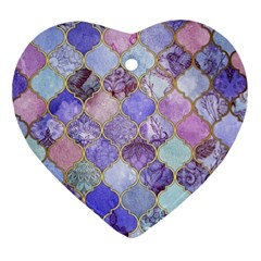 Blue Moroccan Mosaic Ornament (heart) by Brittlevirginclothing