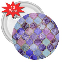 Blue Moroccan Mosaic 3  Buttons (10 Pack)  by Brittlevirginclothing