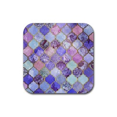 Blue Moroccan Mosaic Rubber Square Coaster (4 Pack)  by Brittlevirginclothing