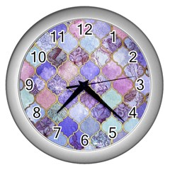 Blue Moroccan Mosaic Wall Clocks (silver)  by Brittlevirginclothing