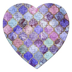Blue Moroccan Mosaic Jigsaw Puzzle (heart) by Brittlevirginclothing