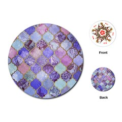 Blue Moroccan Mosaic Playing Cards (round)  by Brittlevirginclothing