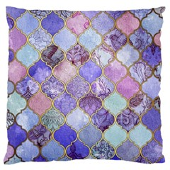 Blue Moroccan Mosaic Standard Flano Cushion Case (one Side) by Brittlevirginclothing