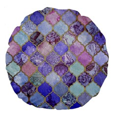 Blue Moroccan Mosaic Large 18  Premium Flano Round Cushions by Brittlevirginclothing