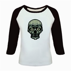 Funny Scared Skull Artwork Kids Baseball Jerseys by dflcprints