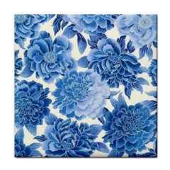 Blue Flower Tile Coasters by Brittlevirginclothing