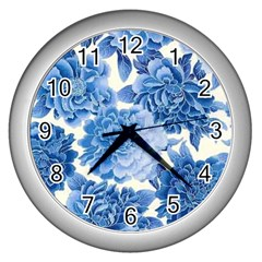 Blue Flower Wall Clocks (silver)  by Brittlevirginclothing