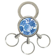 Blue Flower 3 Ring Key Chains by Brittlevirginclothing