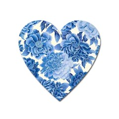 Blue Flower Heart Magnet by Brittlevirginclothing