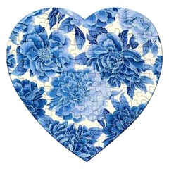 Blue Flower Jigsaw Puzzle (heart) by Brittlevirginclothing
