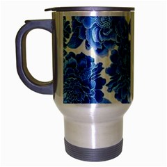 Blue Flower Travel Mug (silver Gray) by Brittlevirginclothing