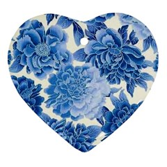 Blue Flower Heart Ornament (two Sides) by Brittlevirginclothing