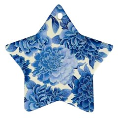 Blue Flower Star Ornament (two Sides) by Brittlevirginclothing
