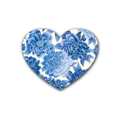Blue Flower Rubber Coaster (heart)  by Brittlevirginclothing