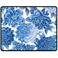 Blue Flower Fleece Blanket (medium)  by Brittlevirginclothing