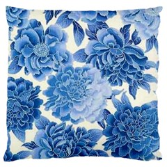 Blue Flower Large Cushion Case (one Side) by Brittlevirginclothing