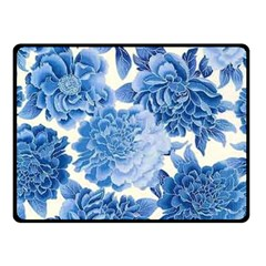 Blue Flower Double Sided Fleece Blanket (small)  by Brittlevirginclothing