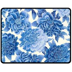 Blue Flower Double Sided Fleece Blanket (medium)  by Brittlevirginclothing